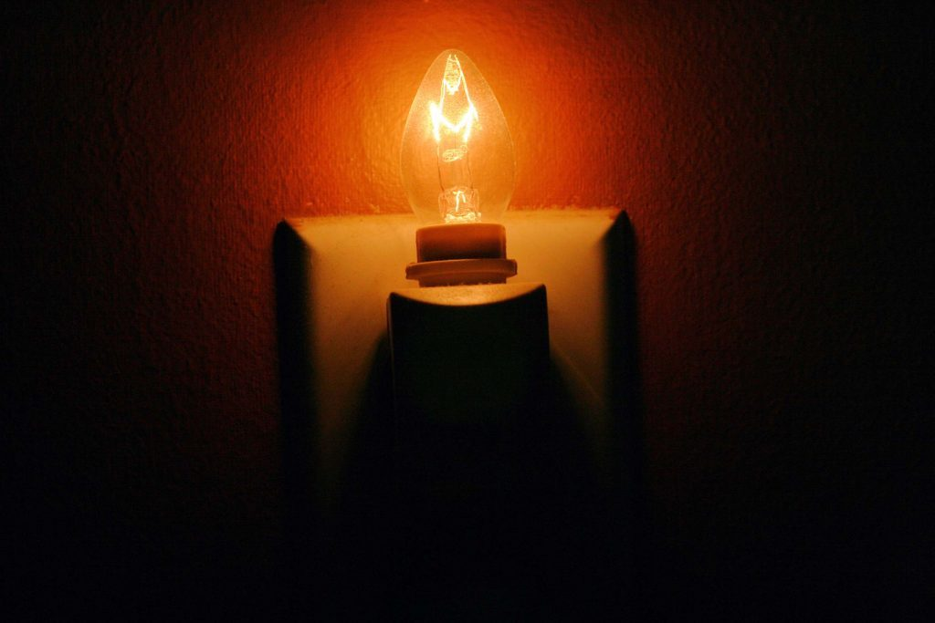 Nightlight bulb on in a dark hallway.