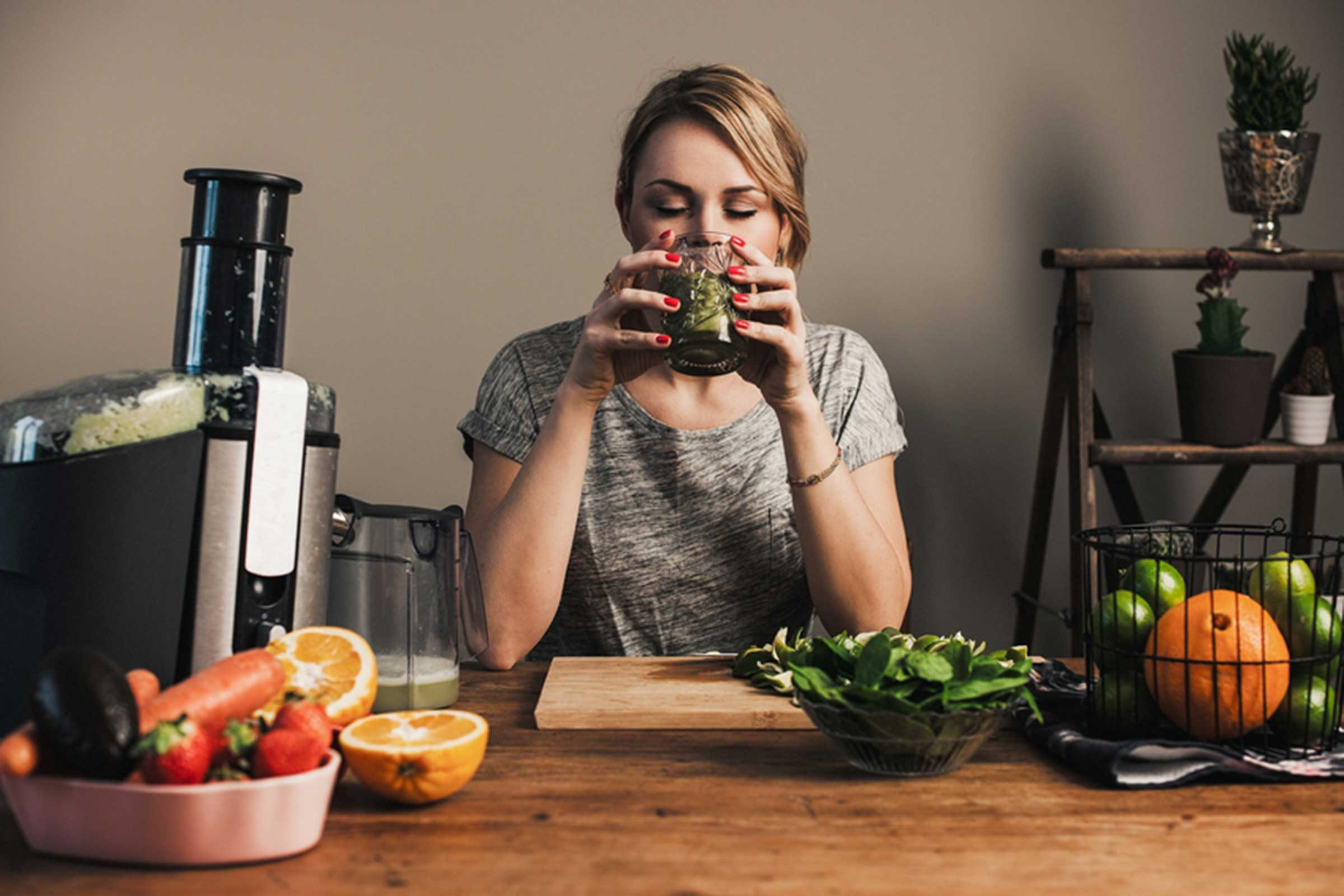 Woman drinking blended juice
