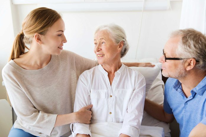 elderly patient with family