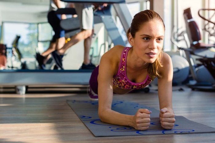 woman doing plank pose
