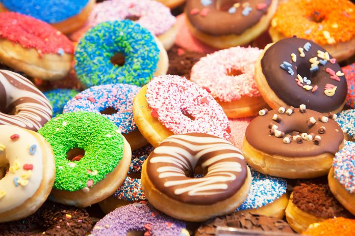 colorful variety of donuts with sprinkles