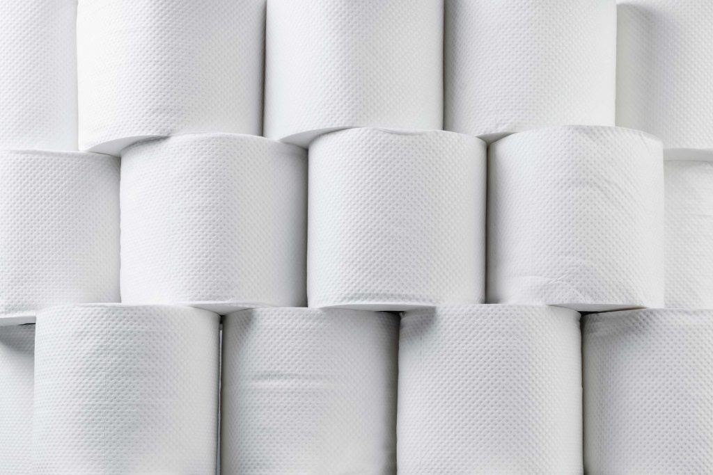 stacks of toilet paper rolls