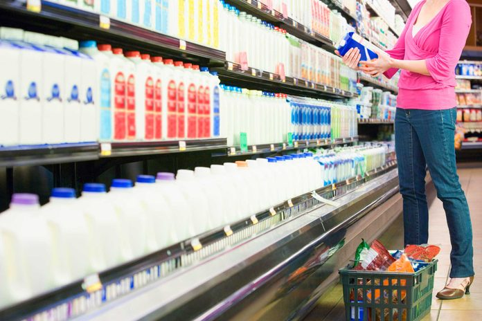 milk in grocery store