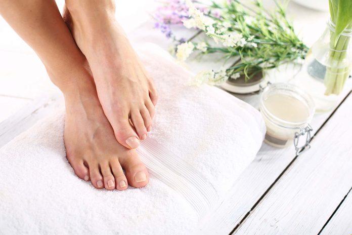 Clean, pedicured toenails.