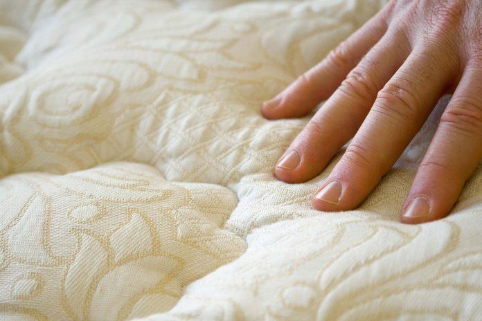 Closeup of a mattress.