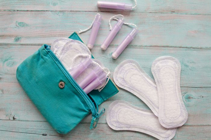 menstrual pads and tampons