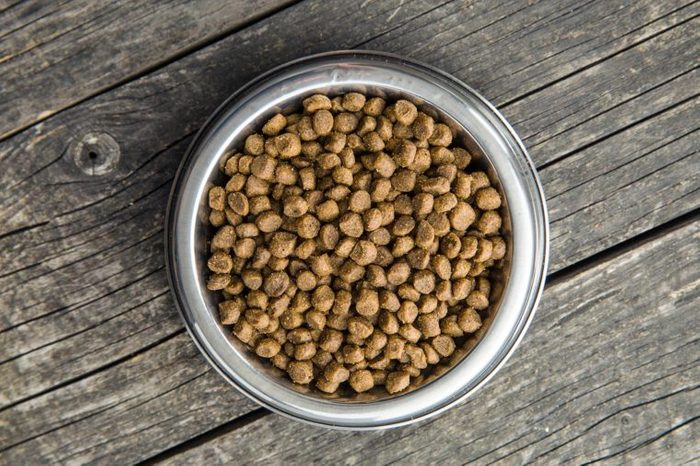 dog or cat food in a bowl