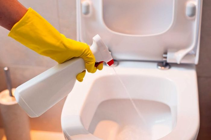 bleach sprayed into toilet