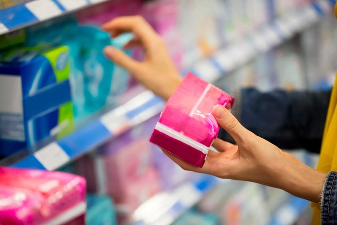 woman shopping for feminine products