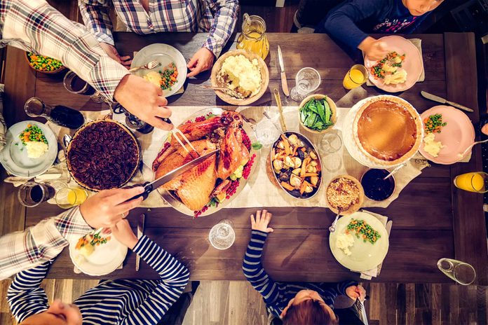 overhead shot of Thanksgiving table