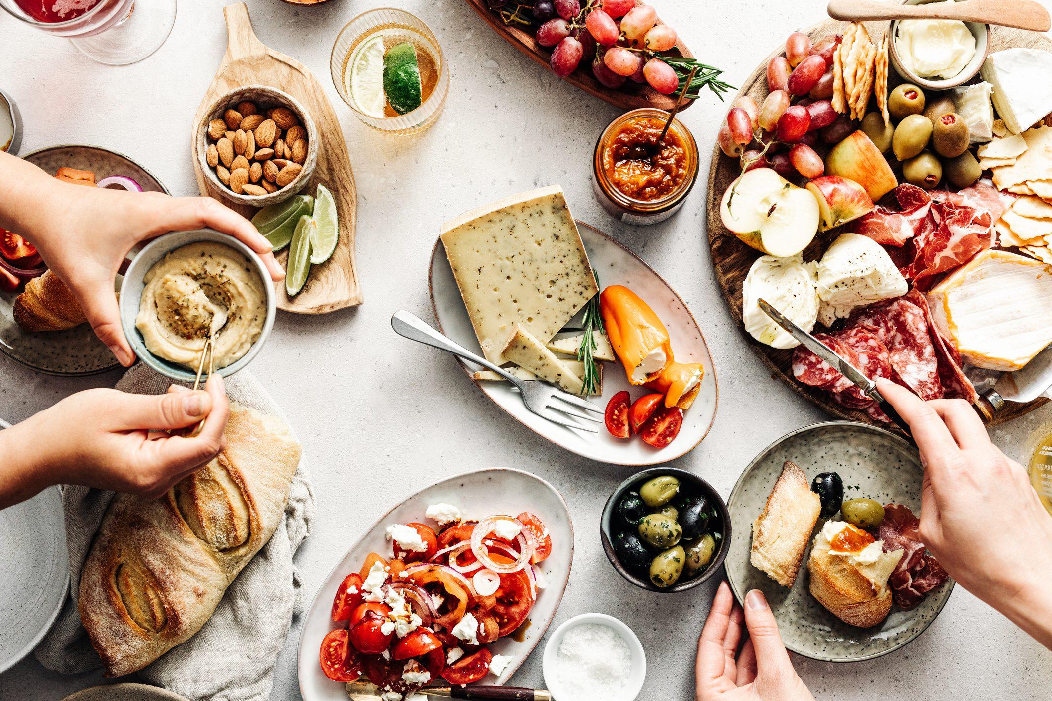 overhead shot of mediterranean food on table