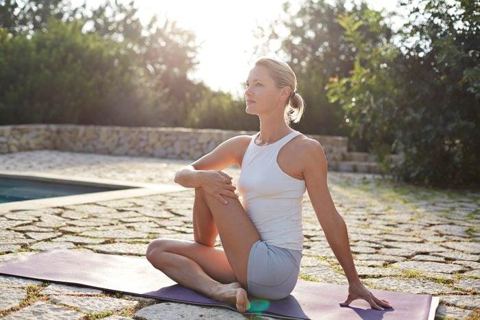 seated twist yoga pose
