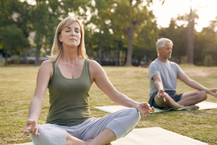 couple meditating together