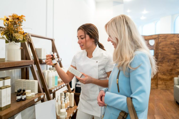 woman shopping for skin care products