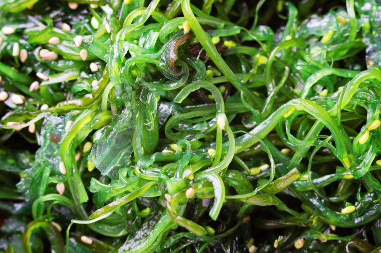 Close up of green, translucent wakame seaweed