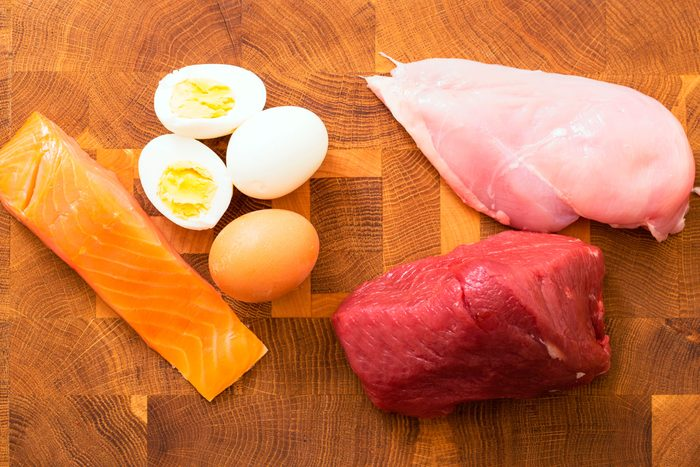 raw salmon, chicken, and beef; hard-boiled eggs