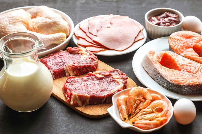 assortment of proteins: milk, egg, seafood, poultry, and meat