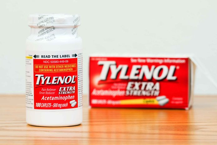 bottle and box of Tylenol pain reliever