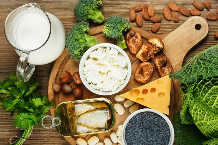 nuts, fish, dairy, greens as sources of calcium
