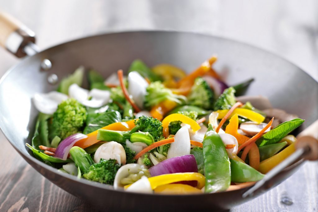 vegetable stir fry in a wok