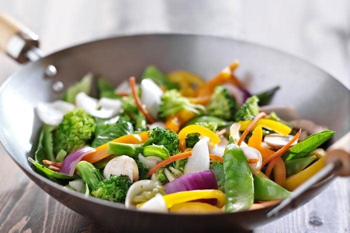 vegetable stir fry in a wok