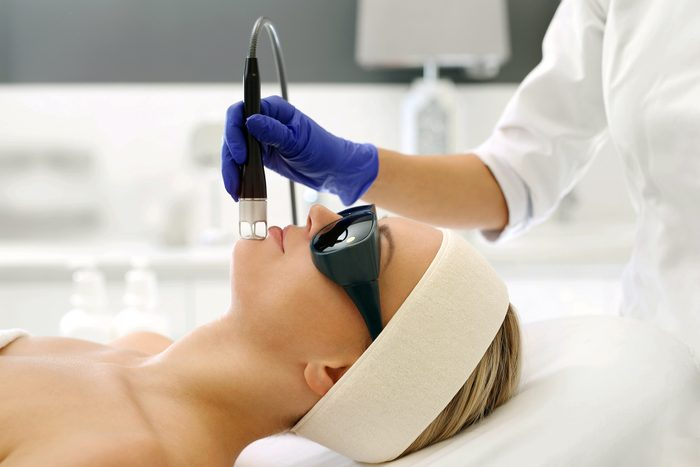 medical laser treatment on face