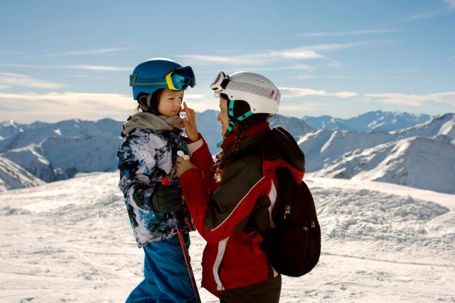 winter sports and sunscreen in winter