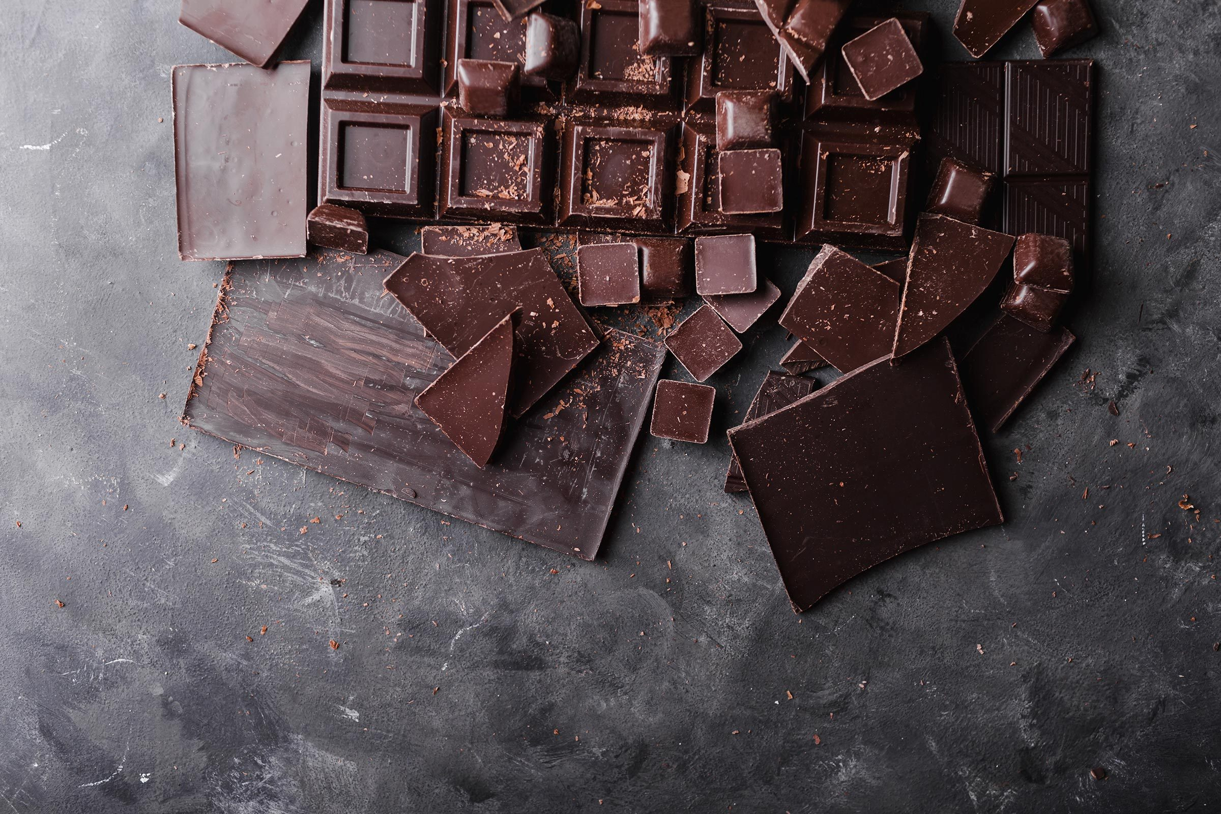 Different sized squares of chocolate