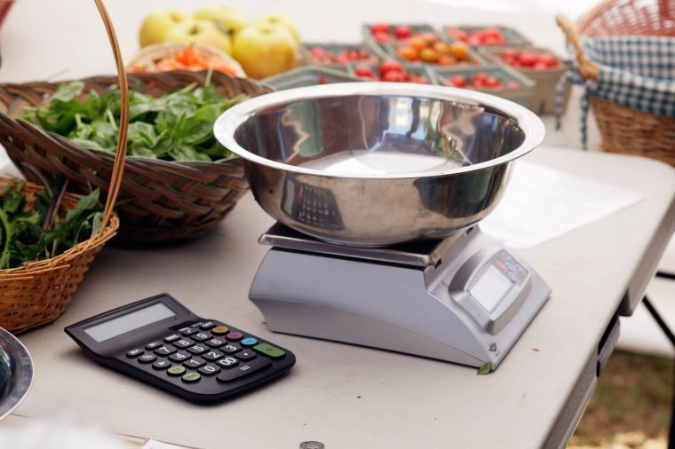 Food scale and calculator on a table