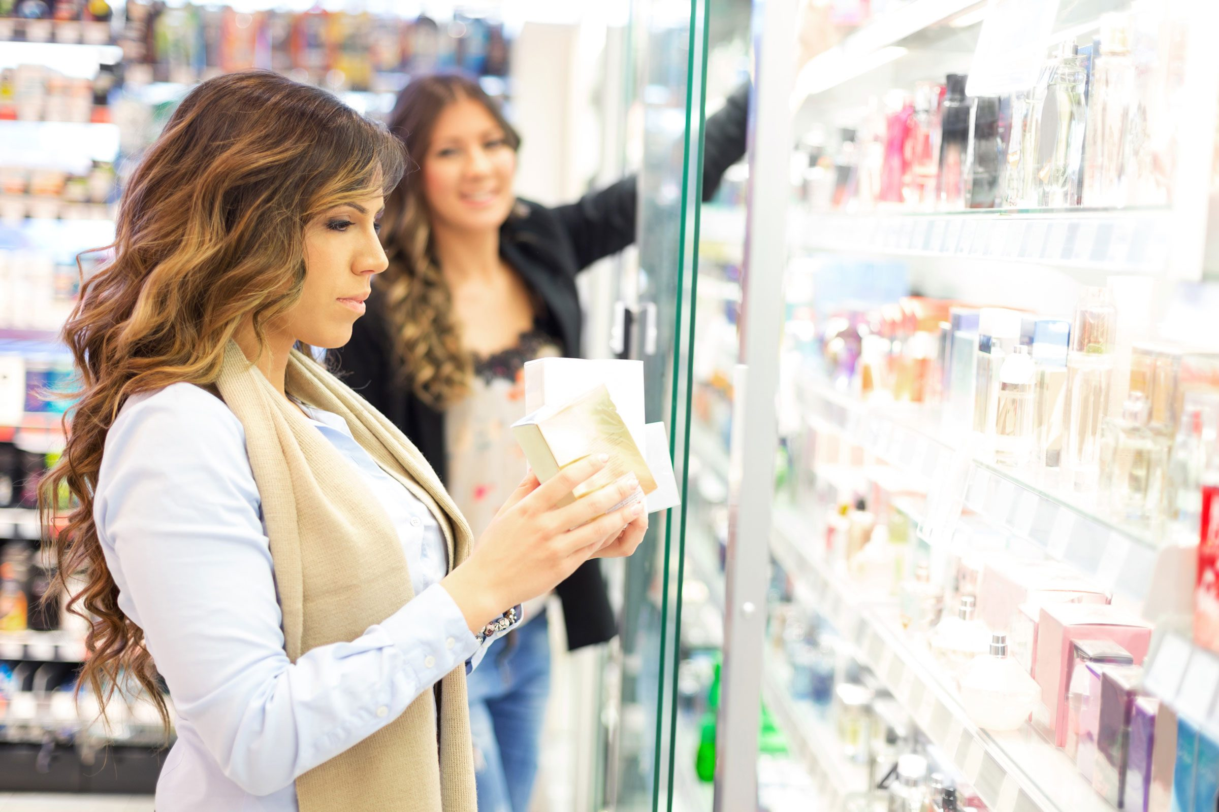 woman looking at products