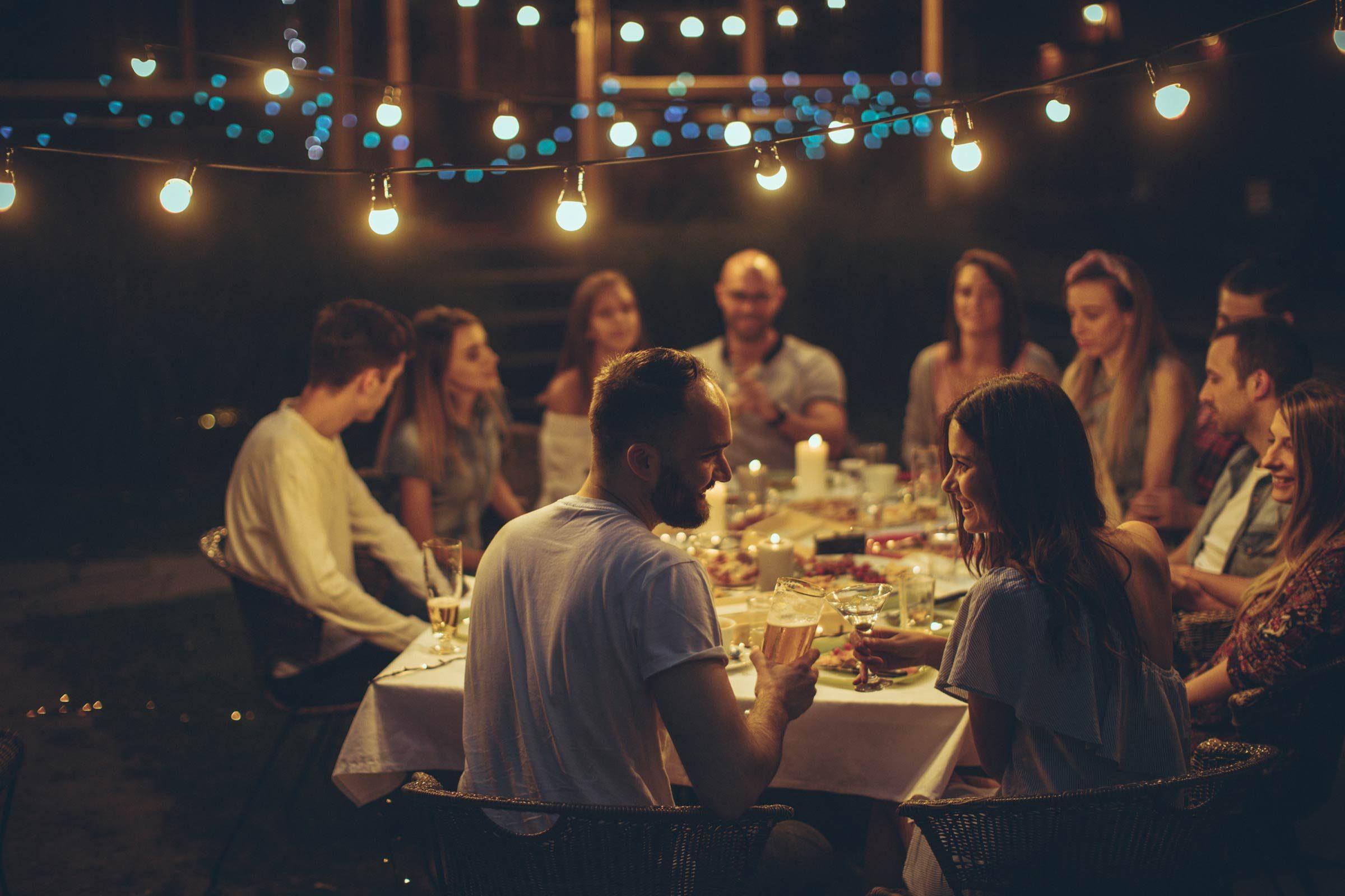 outside dinner party lights