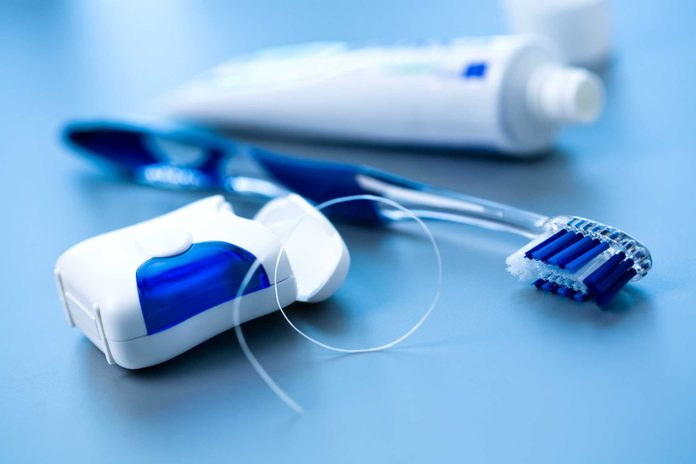 dental floss, toothbrush, toothpaste