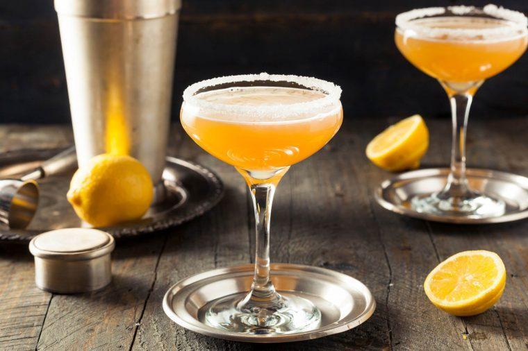 peach drink with sugar on the rim