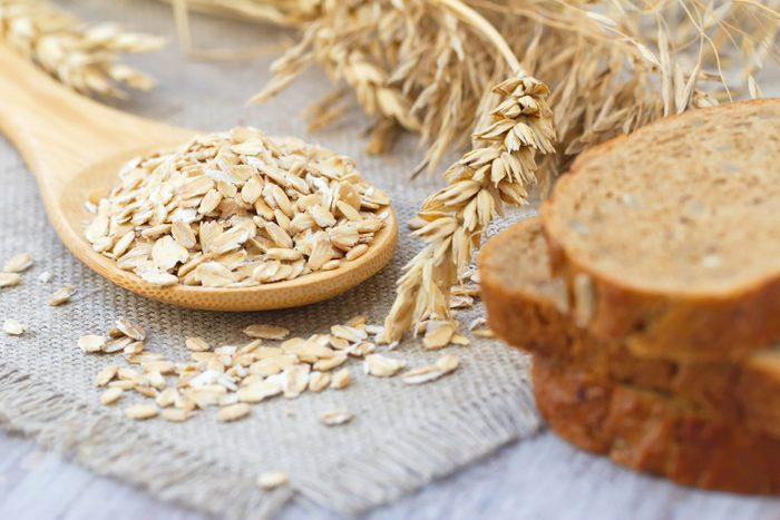 oats, grains, and whole wheat bread slices