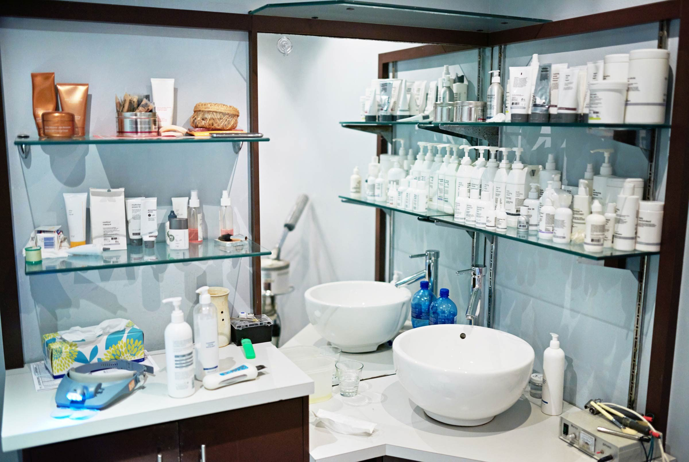 salon shelves and sinks