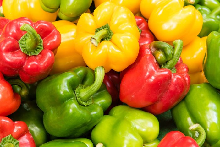 colorful red, yellow and green peppers