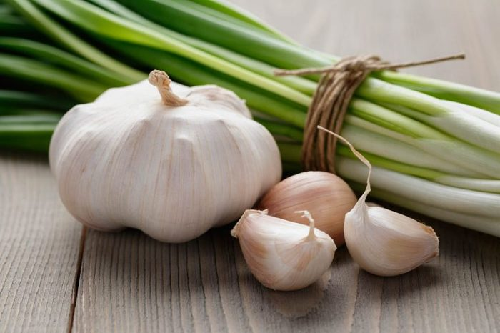 garlic bulb, heads, and stalks