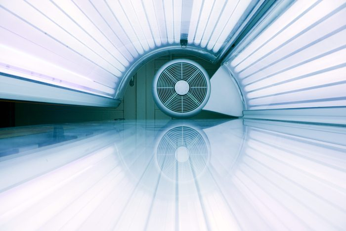 inside a tanning bed