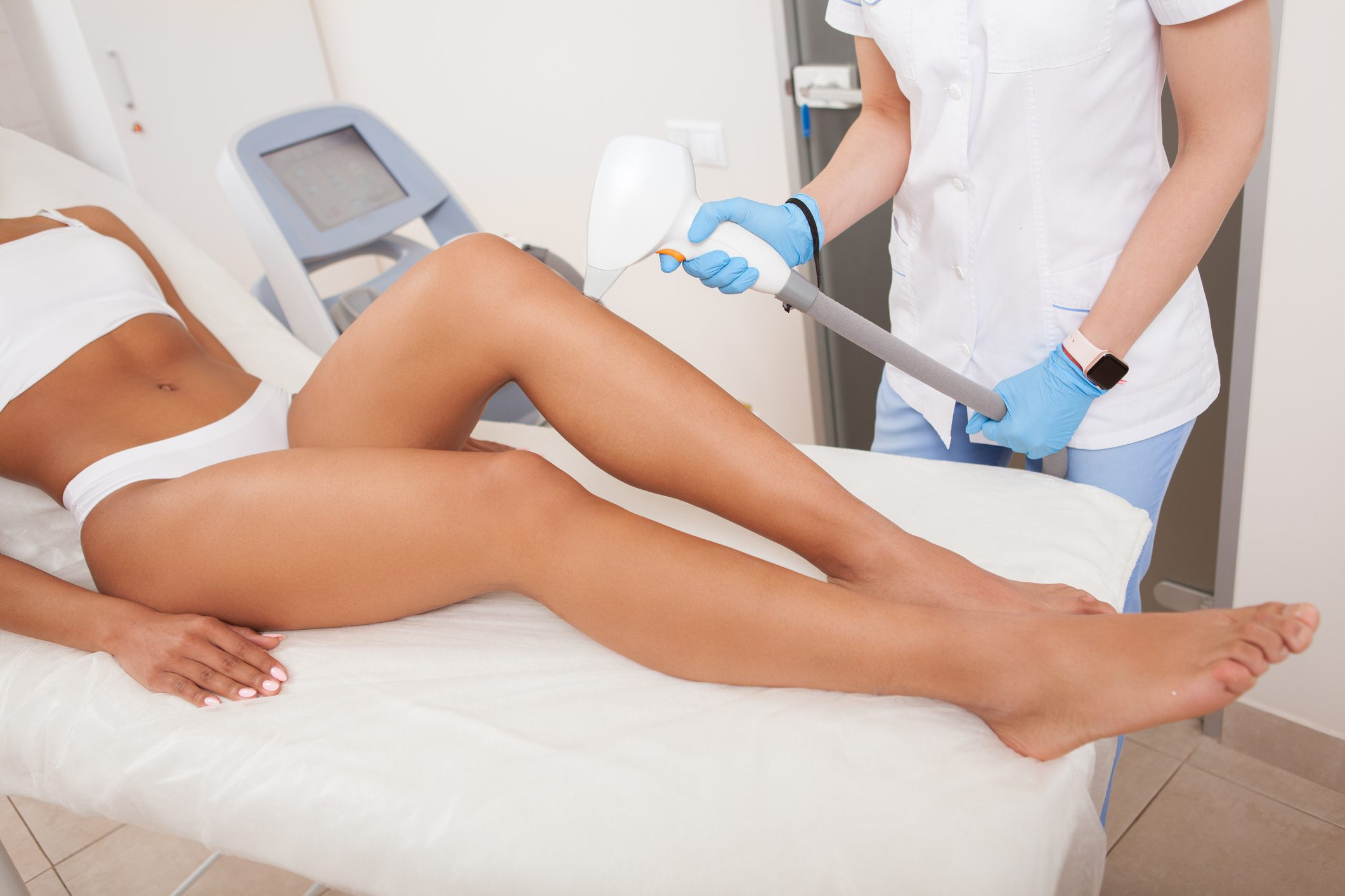 woman getting laser hair removal treatment