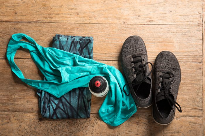 workout clothes flat lay image shot from above