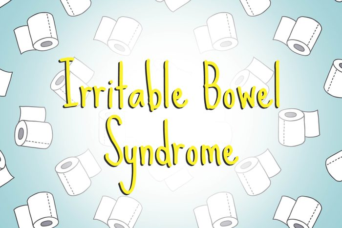 illustration of toilet paper rolls with words irritable bowel syndrome