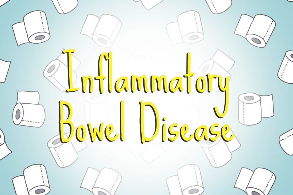 illustration of toilet paper with words inflammatory bowel disesae