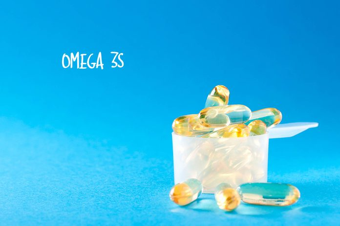 Omega 3 capsules.