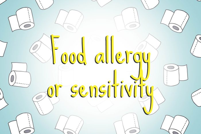 illustration of toilet paper rolls with words food allergy or sensitivity