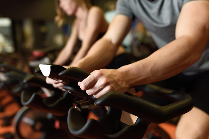 excercise on spin bike