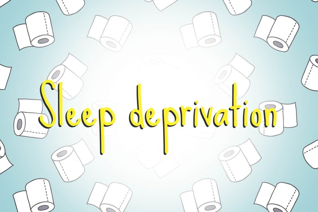 illustration of toilet paper rolls with words sleep deprivation