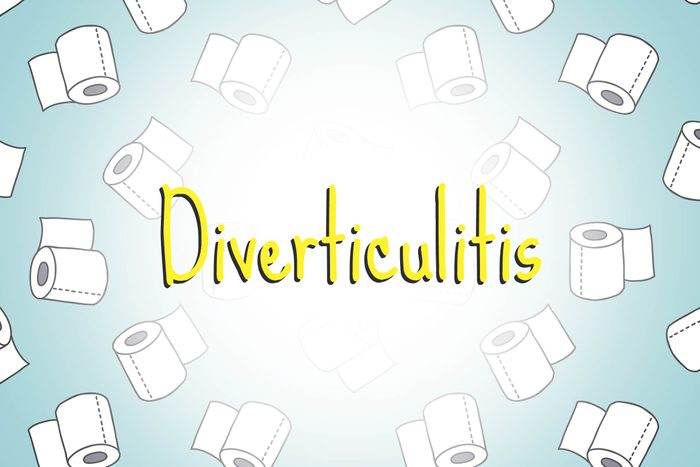 illustration of toilet paper rolls with word diverticulitis
