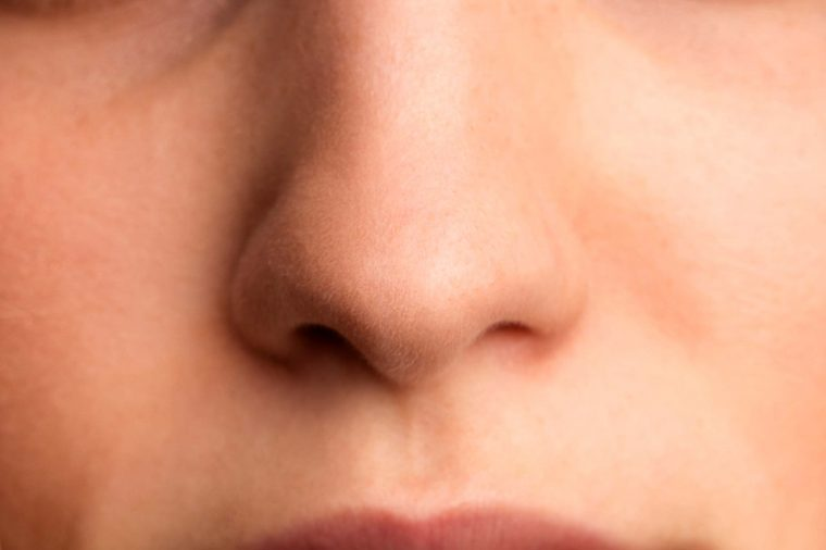 close up of a woman's nose