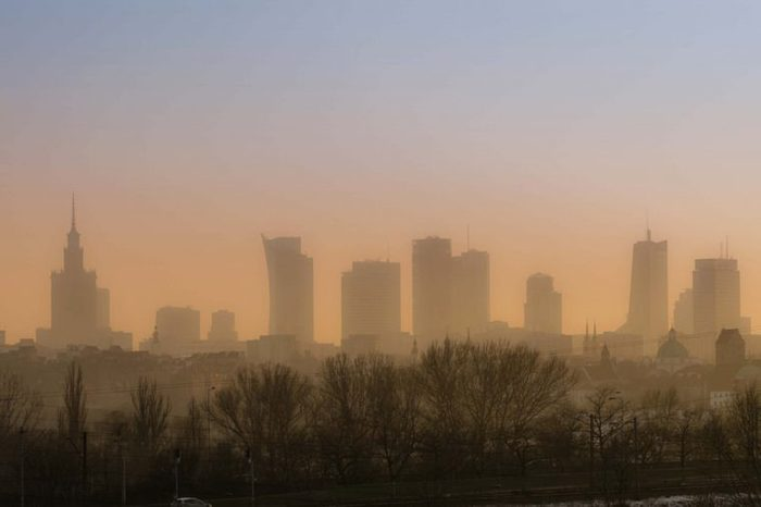 skyline shot of a smoggy city