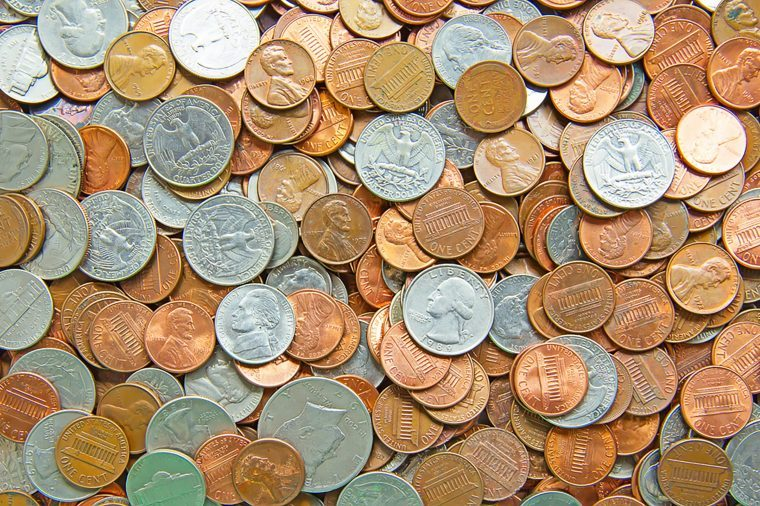 assortment of coins: quarters, nickels, dimes and pennies